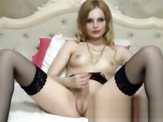 Blonde beauty jerks by webcam