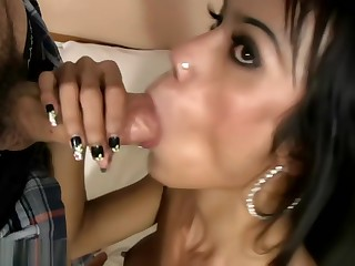 Ladyboy with big tits but small dick is sucking juicy shaft