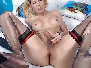 Blonde Big Tits Shemale Jerking Her Cock