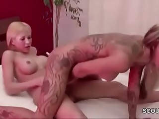 Hot Shemale TS Fuck German Skinny Teen in Lingerie