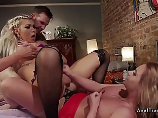 Hot blonde big tits tranny seduces guy and then with her tranny step sister anal gangbang fucking