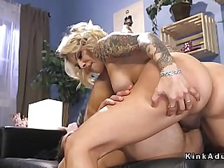 Blonde shemale Ts Foxxy in see through lingerie welcomed pizza delivery guy and made him suck her cock