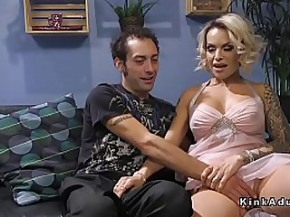 Big boobs blonde tranny anal fucks delivery guy