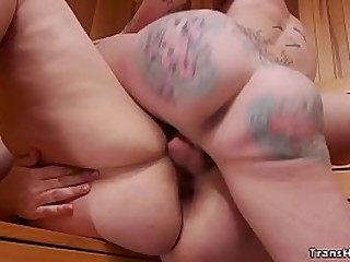 Sexy brunette bbw Mimosa undresses and masturbates in sauna naked then seduces hot big ass alt shemale Morgan Bailey and then takes her cock